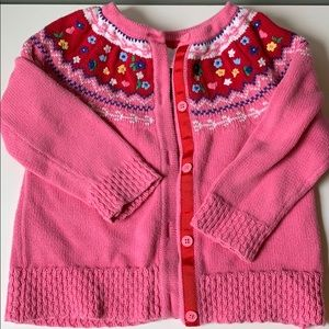 Cotton floral embroidered fair isle pink sweater